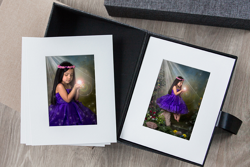 fairy portfolio box with mounted matted fairy prints